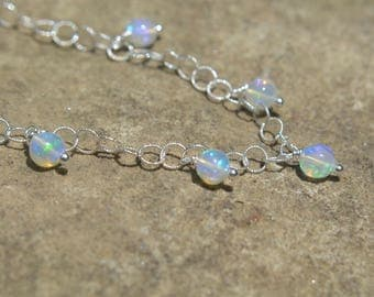 Ethiopian Opal Choker Necklace on Sterling Silver