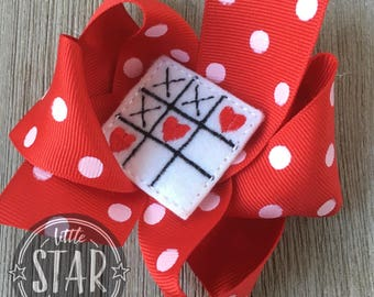 Valentine Heart  Hair Bow  - Red Polka Dot Boutique Hair Bow - Valentine's  Hair Bow - Girls Hair Bow - Ready to Ship