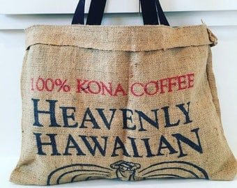 Heavenly Hawaiian Beach Tote/ Market Bag/ Coffee Sack Bag/ Vintage Hawaiian Fabric