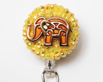 Bollywood Elephant In Yellow ID Badge Reel - Retractable ID Badge Holder - Zipperedheart