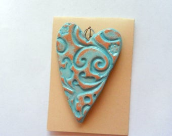 Lg. Distressed Turquoise Glazed Heart Pendant Finding