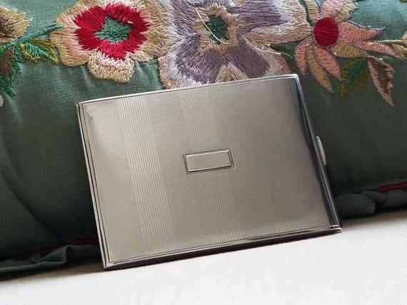 3.8 ounce Vintage Art Deco signed R. Blackinton sterling silver cigarette case, tobacciana, smoking, business card case