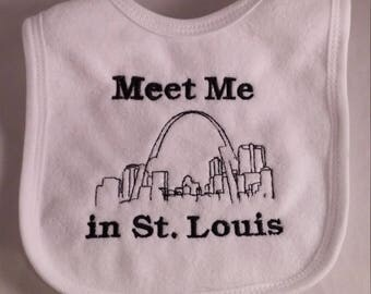 Meet Me in St. Louis Baby Bib  - St. Louis  Baby -  Embroidered St. Louis Skyline
