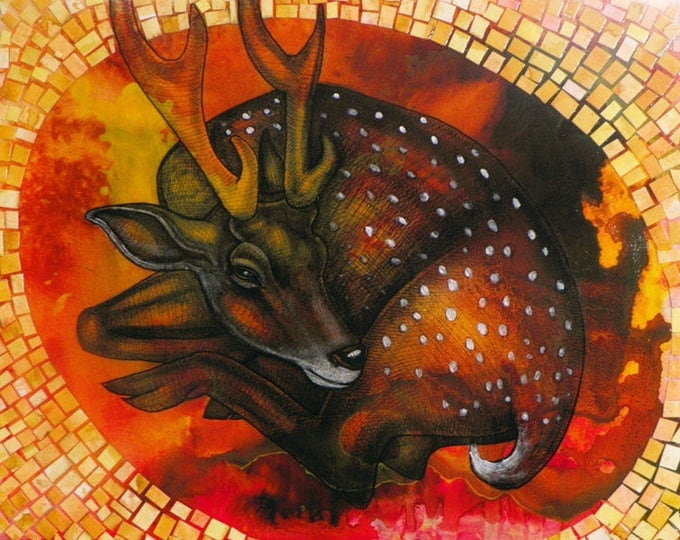 "Featured listing image: Original ""Young Deer at Rest"" Mixed Media Artwork by Lynnette Shelley"