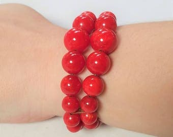 Bright Red Memory Wire Double Wire Bracelet Vintage