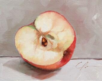 Sliced, Pink Lady Apple, Still Life, Apple Seeds, Read, Cream, Food Original Painting by Clair Hartmann