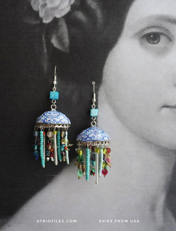 Bohemian Earrings Tiled Dome Persian Tile Portugal Blue Antique Azulejos Nazaré Chapel tiles from house dated 1883 Bohochic Turquoise Beaded