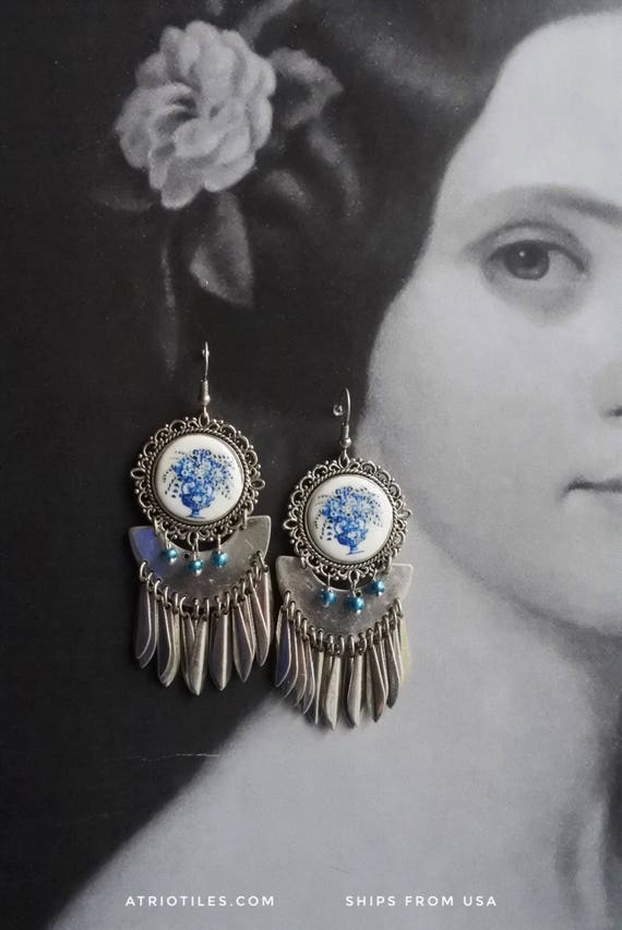 FRINGE Portugal Antique Azulejo Tile Replica Earrings - Church of Mercy Evora Blue Tiles Bohemian Travel History