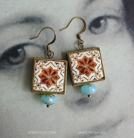 Earrings Portugal  Brown Tile  Azulejo Antique Ilhavo - Czech glass beads - reversible Ships from USA - Gift box included 468