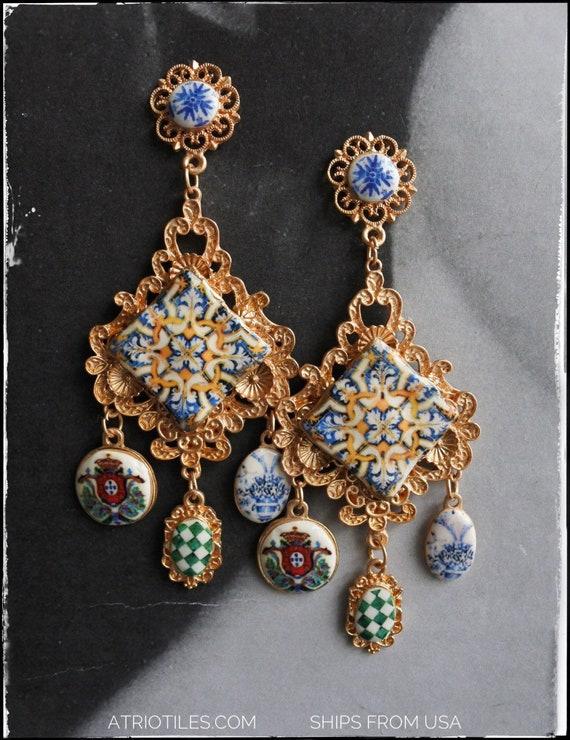 Earrings Baroque Majolica Tribal Arab Ethnic Persian Turkish Portugal Tile Antique Azulejo Gold Blue 17th Century Tomar Santa Iria Church -