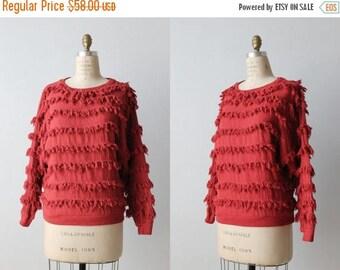 "SALE Vintage 1980's Paula Sweet ""Muslin Mink"" Red Fringe Pullover Sweater / Full Sleeves / Cotton / Fiber Art Sweater"