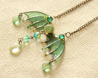 Forest Green Jewelled Translucent Resin Dragon Wing Pendant Necklace/Magical Fantasy RPG Dungeons Fairytale Gamer Jewelry