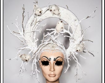 Resting In Frost.... Frosty White Halo with Branches and Birds Rhinestones Winter Holiday Headdress