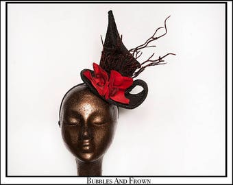 Kiss My Lips.... Tiny Top Hat in Black Damask with Red Orchids Black Glitter Branches