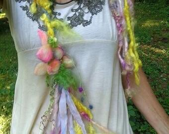 scarf lariat fantasy fiber art yarn braid garland scarf adornment - sunny days garden