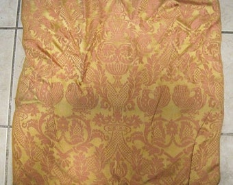 Antique Fabric Damask French Lions Peacocks