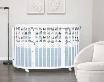 Custom Crib Bedding// Stokke Bedding // American Adventure // 100%  Cotton // Choose your fabric // Choose your trim