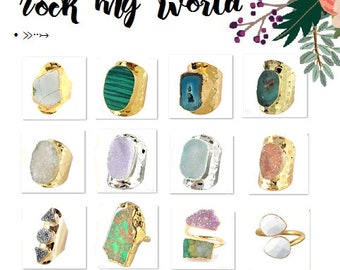 Stone Agate Geode Druzy Ring Adjustable Hammer Gold Silver Plated Band Large Chunky Boho Bohemian Turquoise Teal Blue Green Gray Pink Purple