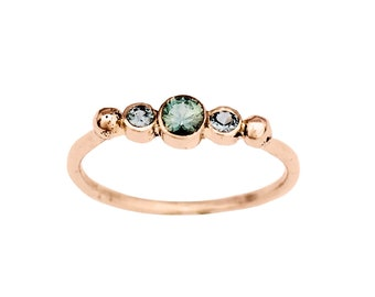BTWN You and Me | 14K Rose Gold Montana Sapphire Engagement ring | Three Stone Engagement Ring