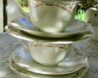 Vtg. Johnson Bros. 3 piece Tea Cup & Saucer, Pink Rose Garland Pat. Rare 2 sets