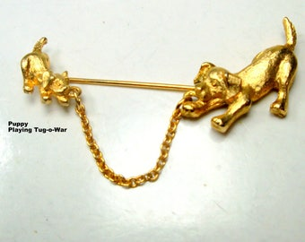2 DOGS Stick Pin, 1980s Vintage Puppies Playing Tug O War, Maybe for Tie,Collar Or Lapel Brooch