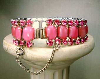 Pink Rhinestone BRACELET, Glam GLASS Jeweled Links,  Hollywood Flashy, Pretty In Pink For AnytIme, Royalty, New Years Eve, Unused