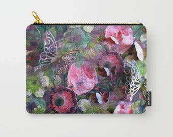 Roses, Butterflies Carry-All Pouch / Cosmetic, Toiletry Bag / Jewelry Making or Art Supplies / Coins / Available in 3 Sizes / Made to Order