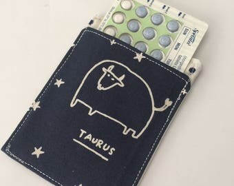 Birth Control Pill Sleeve, Taurus, Celestial, Astrology Sign, Horoscope sign, Designer Fabric, Pill Sleeve, Cute and Discreet for your Bag