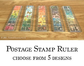 Postage Stamp Ruler | Postal Desk Accessory, choice of designs & rainbow pencil case | Quirky Office Secret Santa Gift | Boho stationery