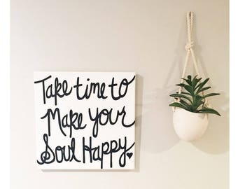 Soul Happy - Hand painted Canvas - bedroom painting decor home house dwell wall hanging decoration black gold paint art work