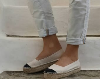 Chanel Inspired Espadrilles in Cream and Black. Summer Flat Shoes. Handmade Greek Sandals. Boho Women's Shoes. Gift for Her. Alpargata