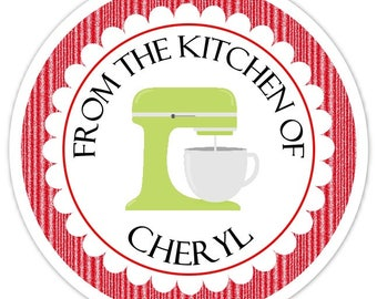 From the Kitchen Custom Labels, Green Mixing Bowl Baking Stickers - 2.5 inch round - Personalized for YOU