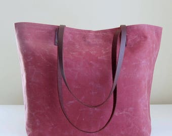 Red Waxed Canvas Medium Tote Bag with Leather Straps - Ready to Ship