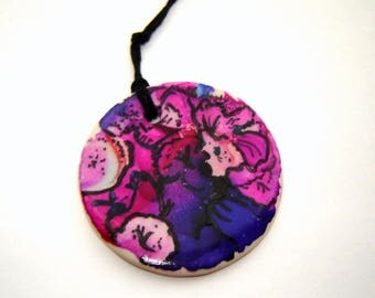 Purple Flower Ornament – Pink Floral Pendant – Small Ceramic Accent – Scrapbook Embellishment – Jewelry Pendant – Alcohol Ink Art