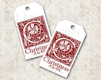 Printable Christmas Gift Tags Christmas Party Favor Treat Bag Tags TC001