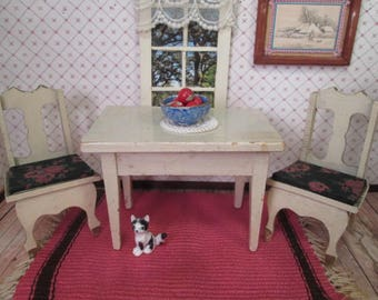"Antique German Dollhouse Furniture - Kitchen Table and Two Chairs -  1"" Scale"