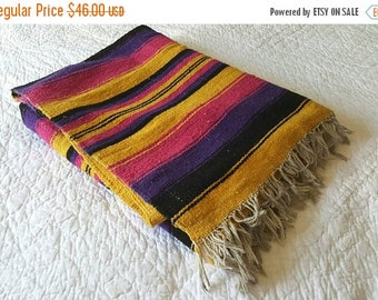 "SALE VINTAGE Southwestern Saddle Blanket / 1980s Mexican tribal print / 78"" x 48"""