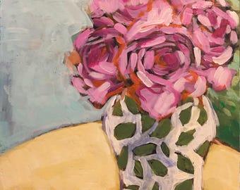 "August Cheer - Original Acrylic Oil Encaustic Still Life Painting -10"" x 10"""