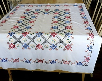 Cross Stitch Tablecloth Vintage 1940s 50s Handmade Farmhouse Rustic Linen Rectangle