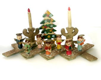 Expanding Angel Band Christmas Decoration Wood Figures Candles Tree Vintage 1950s Handmade