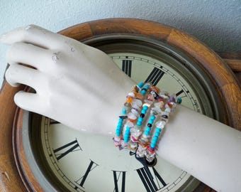One Wrap Bracelet - Chip glass beads - Turquoise Beads - Boho chic - Bohemian bracelet - One size fits all - bycat