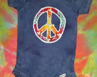 Peace Sign Baby Onesie Batik Baby Onesie READY TO SHIP Sale