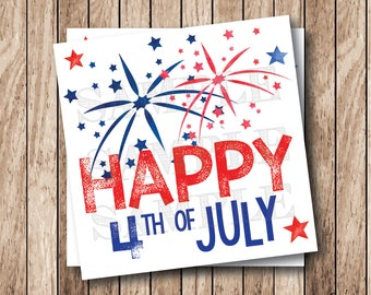 Instant Download . Printable Happy 4th of July Tags, Printable July 4th Tags, Fireworks Tags