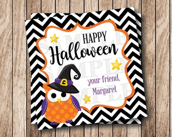 Personalized Printable Halloween Owl Tags, Happy Halloween Tags, Printable Halloween Favor Tags, Witch Owl Tags