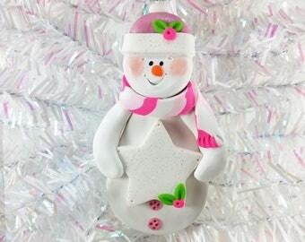 Baby Girl First Christmas Gift - Handmade Keepsake Polymer Clay Snowman Ornament - Snowman Collector Gift - Pink Christmas Decor - 5115