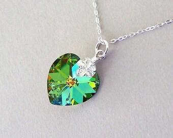 Vitrail Medium crystal heart necklace, pointed back, 14mm Swarovski iridescent light green, wedding jewelry, birthday gift, sterling silver