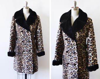 60s leopard coat , vintage 1960s faux fur coat, animal print coat, double breasted coat, medium m