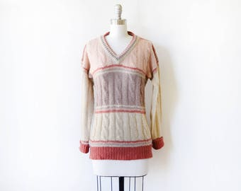 vintage cable knit sweater, 80s v-neck sweater, color block pullover knit striped sweater, medium m