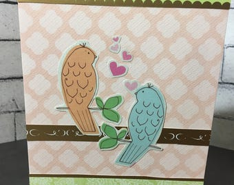 Cute lovebirds - Happy Anniversary greeting card