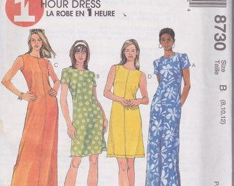 McCall's 8730 Misses' Dress in Two Lengths Sizes 8, 10, 12 One Hour Dress Vintage UNCUT Paper Pattern 1997 Easy Pattern